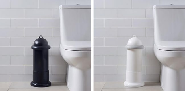 The Pod Classic Mini Manual unit freestanding beside toilet with Pod Stand - White and Black units