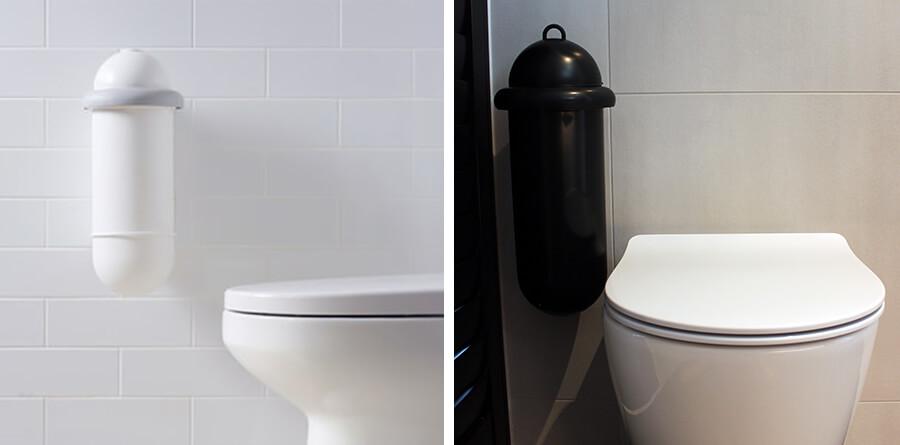 Pod Classic Mini units wall mounted beside toilet - White and Black units