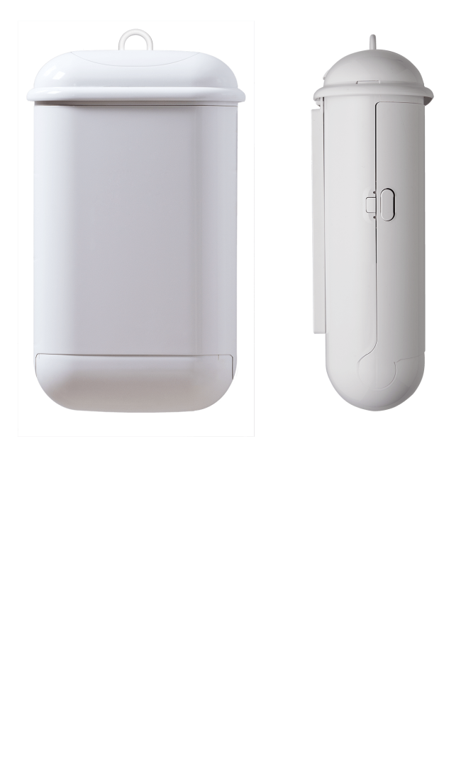 Pod Petite Manual White sanitary pad disposal unit - Front and Side view