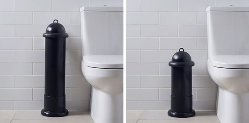Two washroom images of Pod Classic Manual Black units free-standing in Pod Stands
