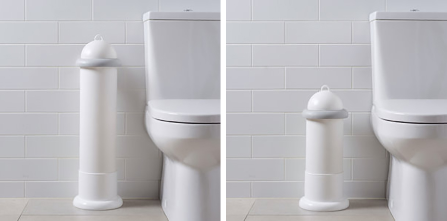 Two washroom images of Pod Classic Manual White units free-standing in Pod Stands