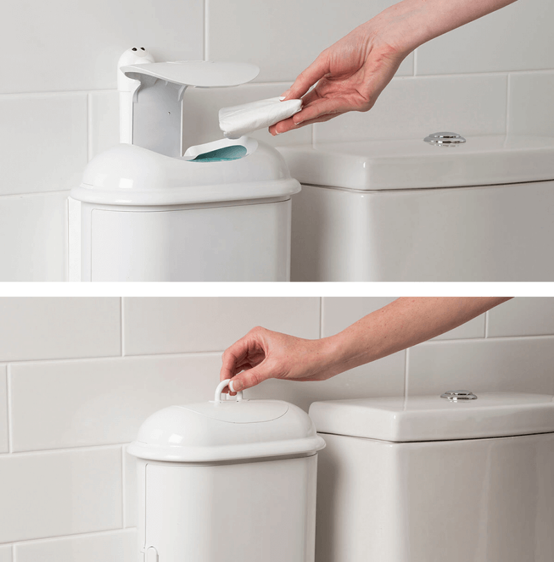 A duo image showing Pod Petite Auto touch-free feature and Pod Petite Manual lifting ring feature to dispose sanitary waste