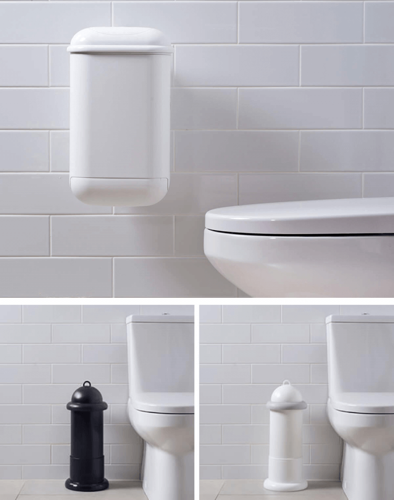 An collage image showing Pod Petite Auto unit installed on tiled while wall, and a black and white Pod Classic Mini Manual units with Pod Stands floor standing next to toilets