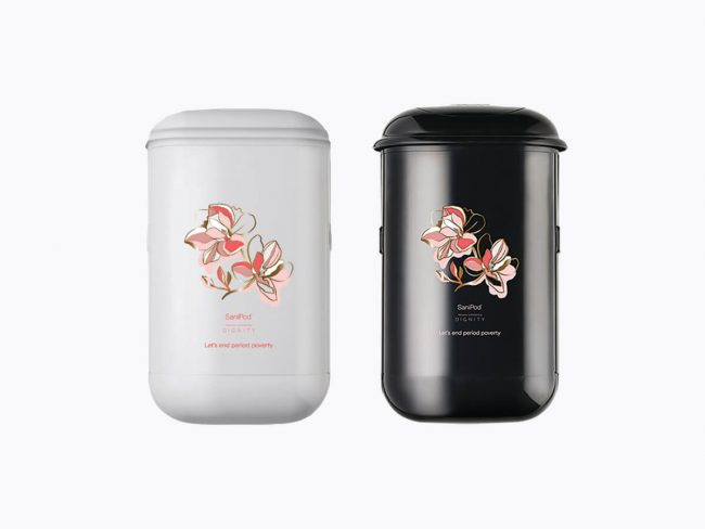 SaniPod x Dignity campaign Black and White sanitary disposal units