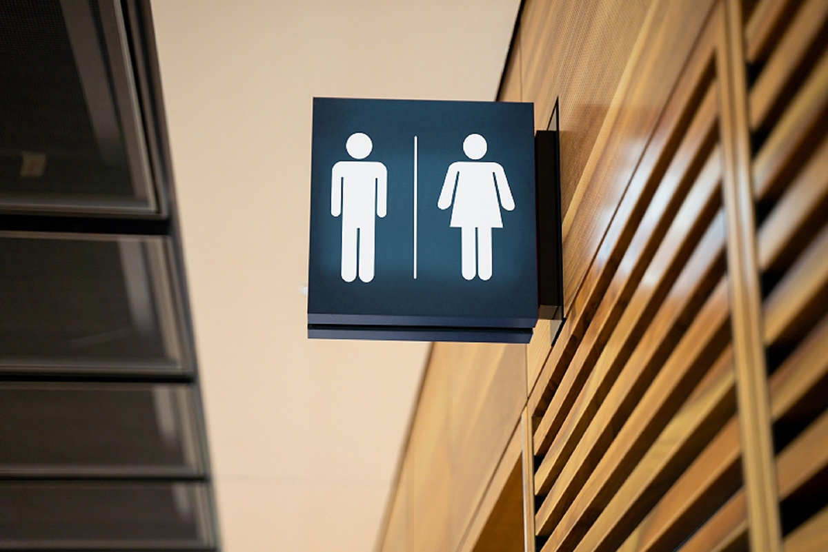 A picture showing male and female bathroom icons.